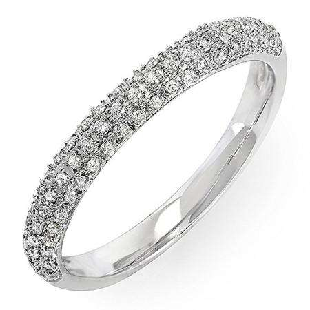 0.25 Carat (ctw) 18k White Gold Round Diamond Ladies Pave Anniversary Wedding Band Stackable Ring 1/4 CT