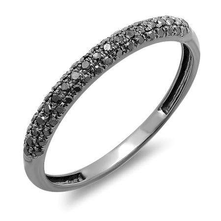 a47bed097ec 0.25 Carat (ctw) Black Rhodium Plated 14K White Gold Round Black Diamond  Ladies Pave Anniversary Wedding Band Stackable Ring 1/4 CT