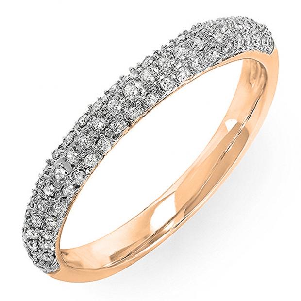 0.25 Carat (ctw) 14k Rose Gold Round Diamond Ladies Pave Anniversary Wedding Band Stackable Ring 1/4 CT