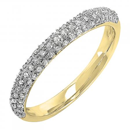 0.25 Carat (ctw) 14k Yellow Gold Round White Diamond Ladies Pave Anniversary Wedding Band Stackable Ring 1/4 CT