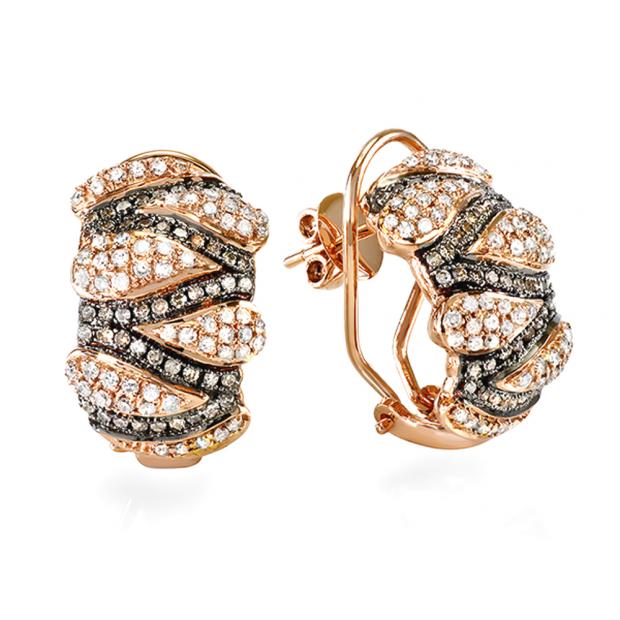 1.00 Carat (ctw) 14k Rose Gold Brilliant Round Diamond Hoop Earrings