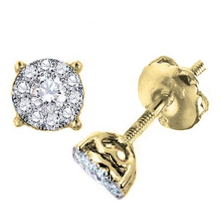 0.75 Carat (ctw) 14K Yellow Gold Round Diamond Cluster Stud Earrings Look of 2 CT total wt