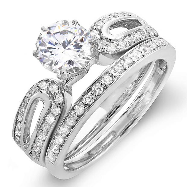 1.00 Carat (ctw) 14k White Gold Round Diamond Ladies Bridal Engagement Ring Set with Matching Band