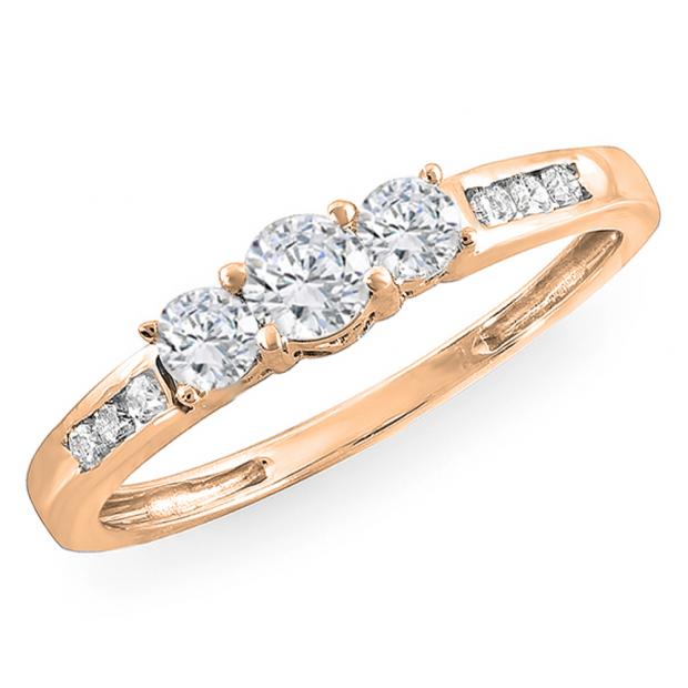 0.35 Carat (ctw) 18k Rose Gold Round Diamond Ladies 3 stone Engagement Bridal Ring