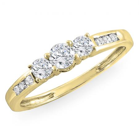 0.35 Carat (ctw) 18K Yellow Gold Round Diamond Ladies 3 stone Engagement Bridal Ring