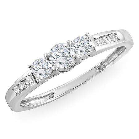 0.35 Carat (ctw) 14k White Gold Round Diamond Ladies 3 stone Engagement Bridal Ring
