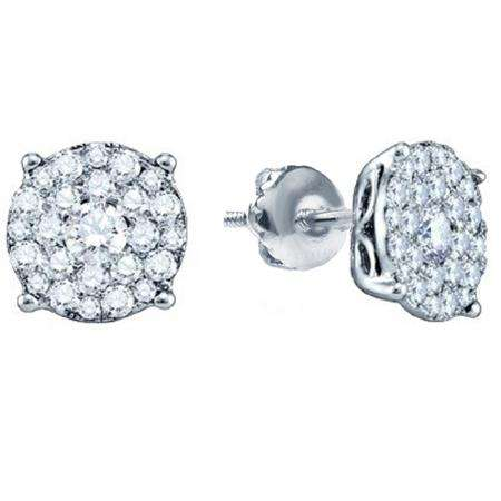 0.50 Carat (ctw) 10K White Gold Round Cut Diamond Round Shape Cluster Earrings  Look of 1 CT each 1/2 CT