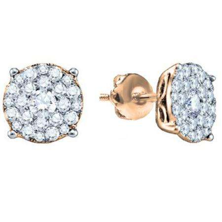 0.50 Carat (ctw) 18K Rose Gold Round Cut Diamond Round Shape Cluster Earrings  Look of 1 CT each 1/2 CT