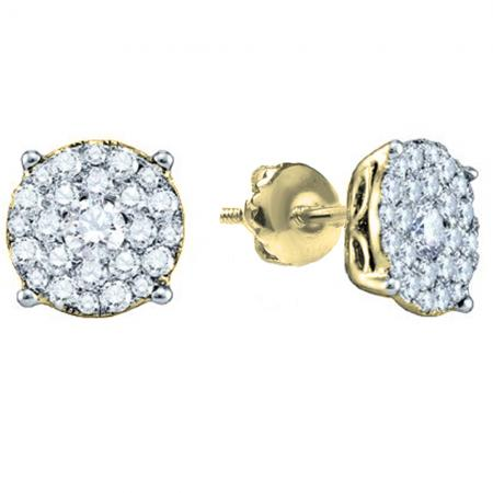 0.50 Carat (ctw) 18K Yellow Gold Round Cut Diamond Round Shape Cluster Earrings  Look of 1 CT each 1/2 CT