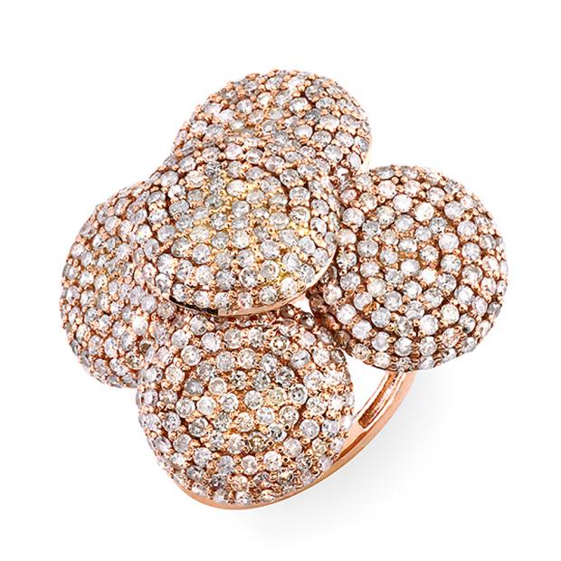 4.00 Carat (ctw) 14k Rose Gold White Round Diamond Ladies Cocktail Right Hand Ring