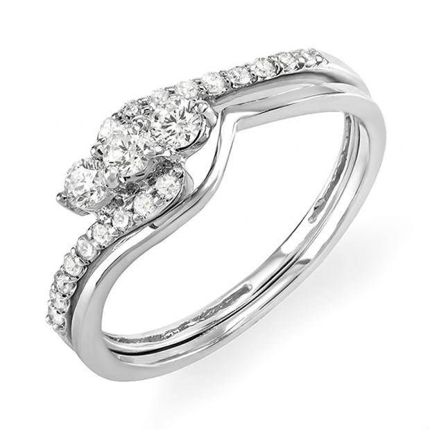 0.40 Carat (ctw) 14k White Gold Round Diamond Ladies Bridal Engagement Ring Set