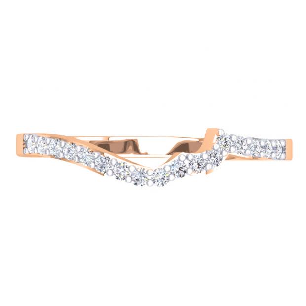 0.20 Carat (ctw) 18K Rose Gold Round Cut Diamond Ladies Anniversary Wedding Stackable Contour Guard Band 1/5 CT