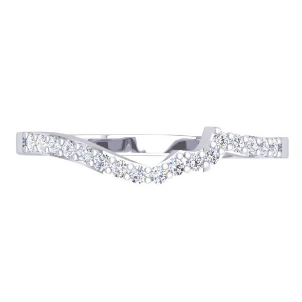 0.20 Carat (ctw) 18K White Gold Round Cut Diamond Ladies Anniversary Wedding Stackable Contour Guard Band 1/5 CT