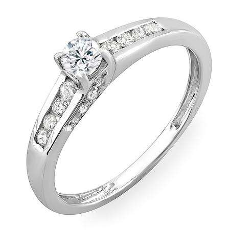 0.55 Carat (ctw) 14k White Gold Round Diamond Ladies Engagement Bridal Ring