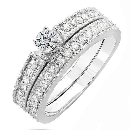 CERTIFIED 0.50 Carat (ctw) 14k White Gold Round Cut Diamond Ladies Bridal Engagement Ring Matching Wedding Set 1/2 CT