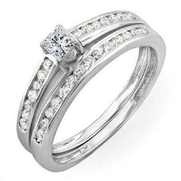 CERTIFIED 0.60 Carat (ctw) 10k White Gold Brilliant Round & Princess Diamond Ladies Bridal Engagement Ring Set
