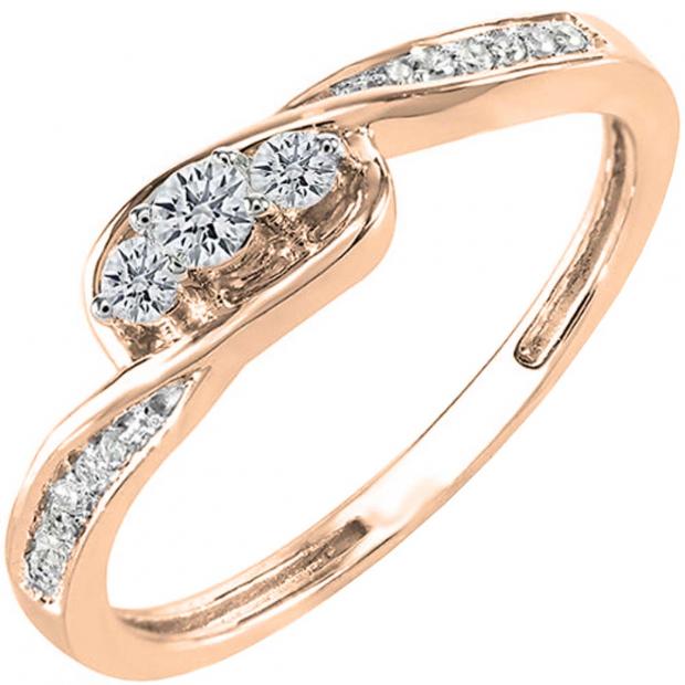 0.25 Carat (ctw) 14k Rose Gold Round Diamond Ladies 3 Stone Engagement Promise Ring 1/4 CT