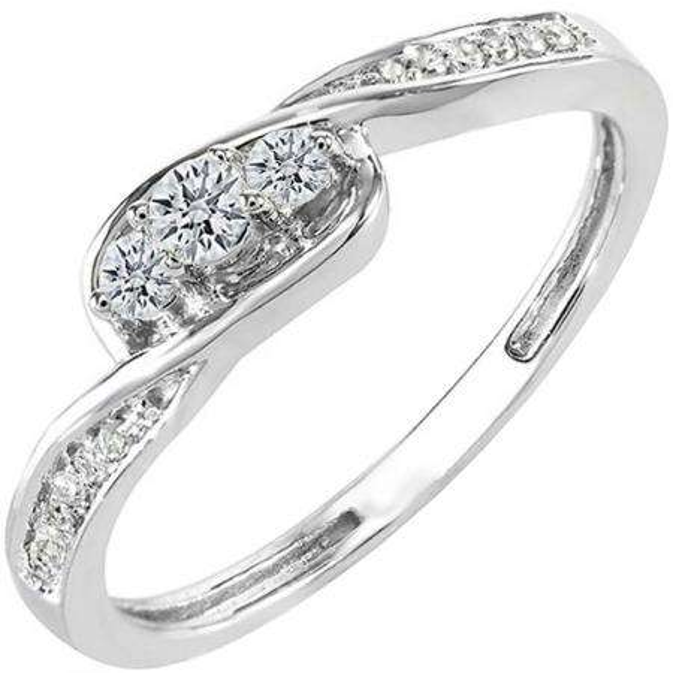 0.25 Carat (ctw) 18k White Gold Round Diamond Ladies 3 Stone Engagement Promise Ring 1/4 CT