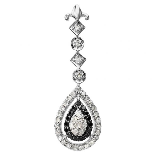 0.65 Carat (ctw) Sterling Silver Real Diamond Ladies Fancy Drop Pendant