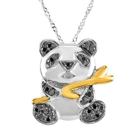 0.26 Carat (ctw) Sterling Silver Real Black Diamonds Panda Ladies Pendant