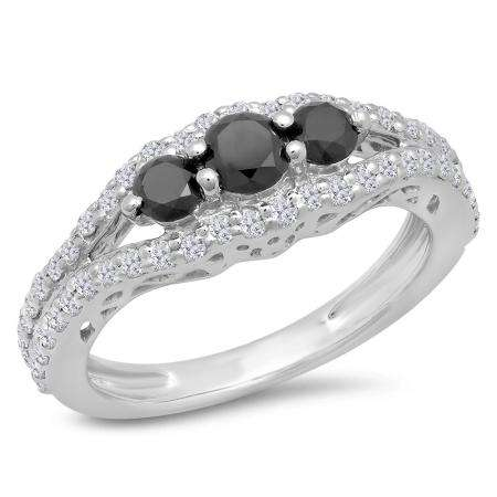 1.25 Carat (ctw) Sterling Silver Round Black & White Diamond Ladies 3 stone Engagement Bridal Ring 1 1/4 CT