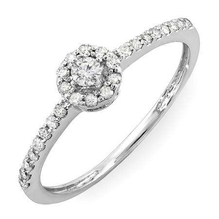 0.33 Carat (ctw) Sterling Silver Round Diamond Ladies Engagement Halo Style Bridal Ring 1/3 CT
