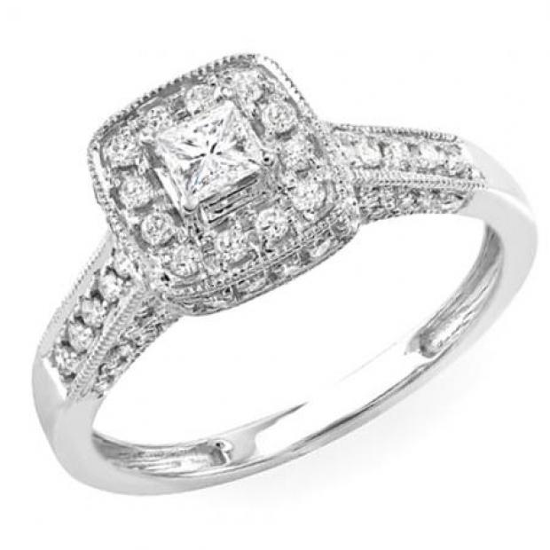 1.02 Carat (ctw) 14k White Gold Princess & Round Diamond Ladies Halo Style Engagement Bridal Ring