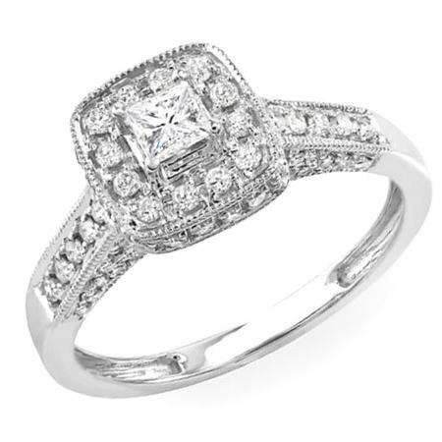 0.85 Carat (ctw) 14k White Gold Princess & Round Diamond Ladies Halo Style Engagement Bridal Ring