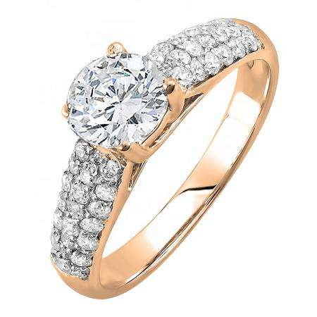 1.22 Carat (ctw) 14K Rose Gold Round Diamond Pave set Bridal Engagement Ring 0.72 CT center included 1 1/4 CT