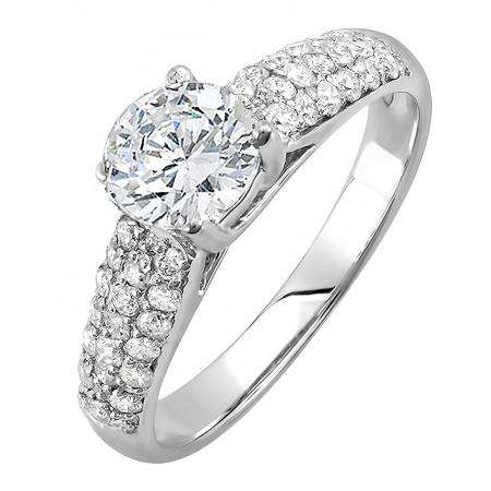 1.22 Carat (ctw) 18K White Gold Round Diamond Pave set Bridal Engagement Ring 0.72 CT center included 1 1/4 CT