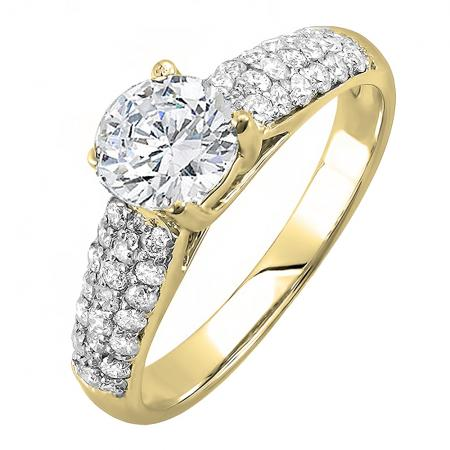 1.22 Carat (ctw) 18K Yellow Gold Round Diamond Pave set Bridal Engagement Ring 0.72 CT center included 1 1/4 CT
