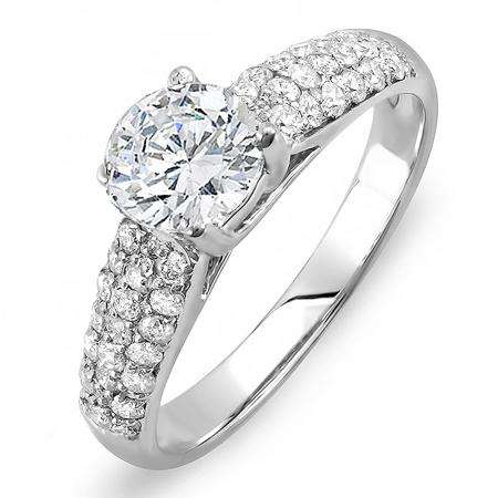 1.22 Carat (ctw) 14K White Gold Round Diamond Pave set Bridal Engagement Ring 0.72 CT center included