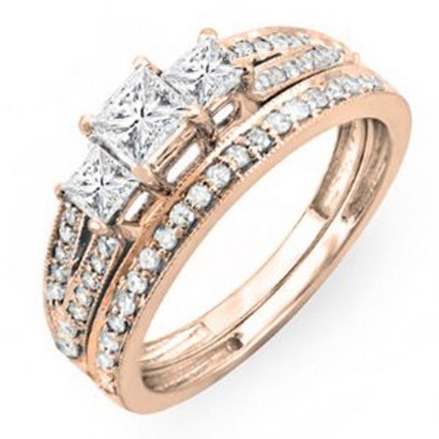 1.00 Carat (ctw) 14k Rose Gold Princess Cut 3 Stone Diamond Ladies Engagement Bridal Ring Set Matching Band 1 CT