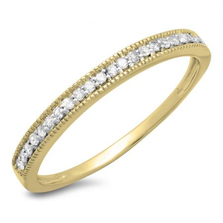 0.18 Carat (ctw) 10k Yellow Gold Round Diamond Ladies Millgrain Anniversary Wedding Stackable Band