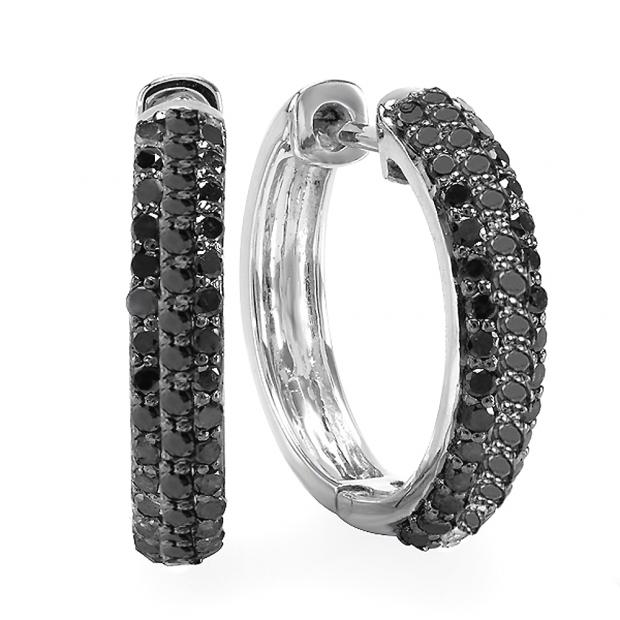 0.65 Carat (ctw) Sterling Silver Black Round Diamond Huggie Hoop Earrings