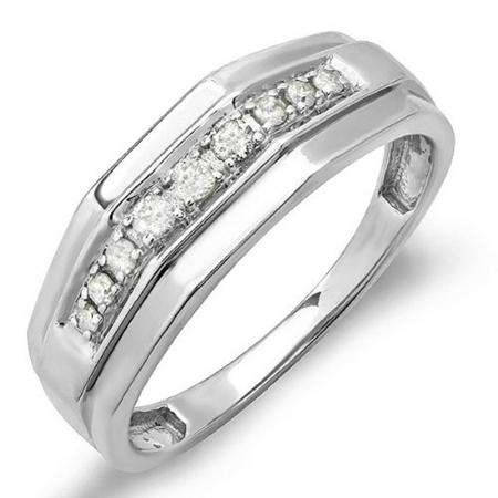 0.15 CT Sterling Silver Round White Real Diamond Men/'s Wedding Anniversary Band