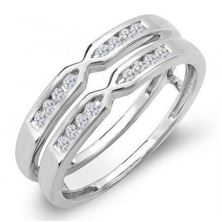 0.25 Carat (ctw) 14k White Gold Round Diamond Ladies Anniversary Wedding Band Guard Double Ring 1/4 CT