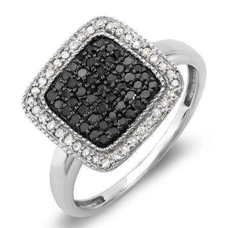 0.50 Carat (ctw) Sterling Silver Round Black & White Diamond Ladies Cocktail Right Hand 1/2 CT