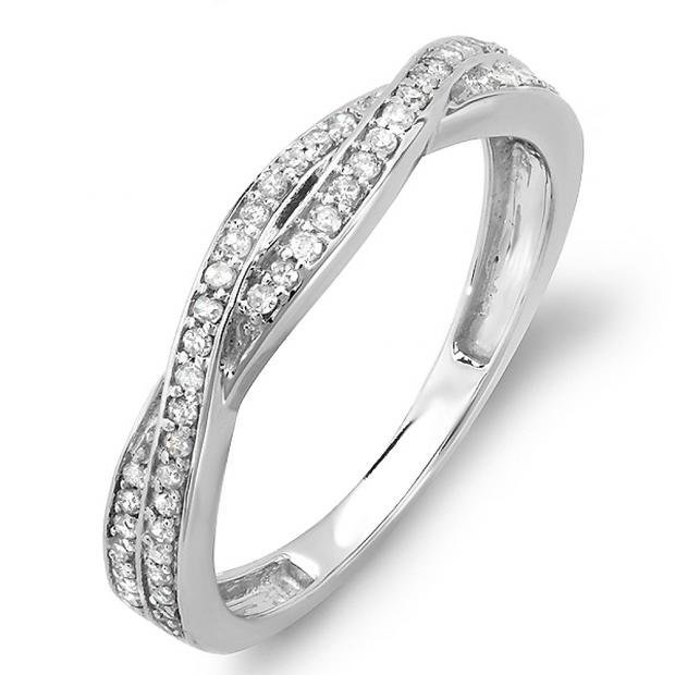 0 25 Carat Ctw 10k White Gold Round Diamond Anniversary Wedding
