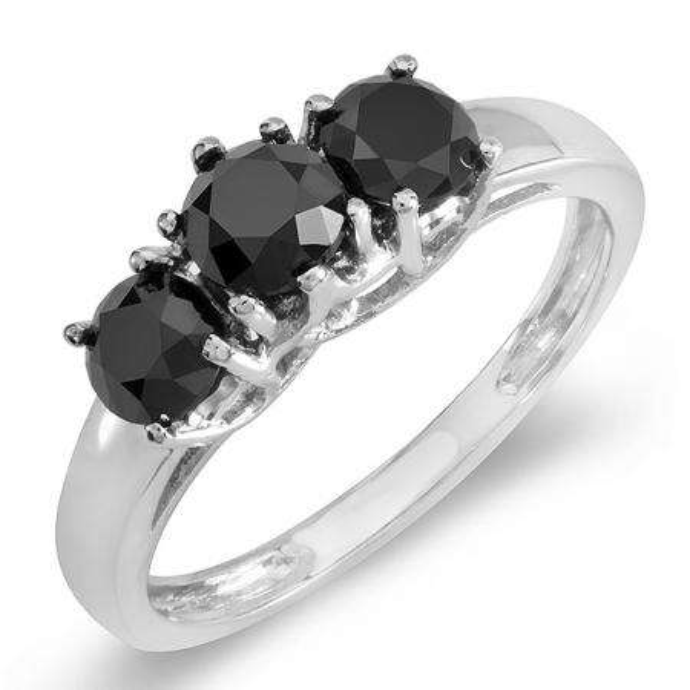 1.00 Carat (ctw) 14K White Gold Black Round Diamond Three Stone Ladies Engagement Ring