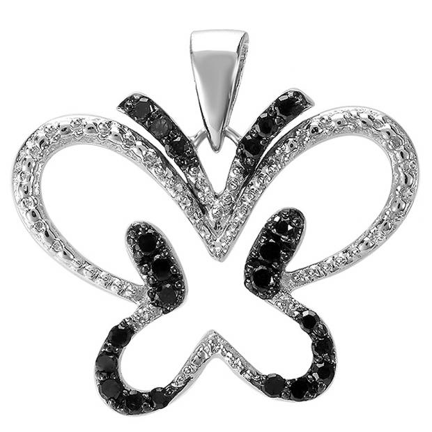 0.20 Carat (ctw) Sterling Silver Round Black Diamond Butterfly Ladies Pendant 1/5 CT