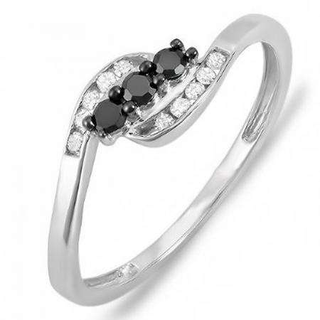 0.25 Carat (ctw) 10K White Gold Round Black & White Diamond Ladies Anniversary Promise Wedding Ring