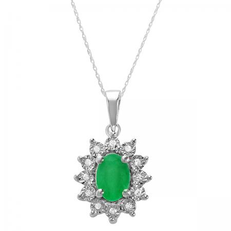 1.00 Carat (ctw) Kate Middleton Diana Replica 10K White Gold Real Round Diamond With Real Oval Green Emerald Matching Ladies Pendant