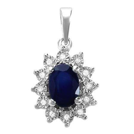 1.00 Carat (ctw) Kate Middleton Diana Replica 10K White Gold Real Round Diamond With Real Oval Blue Sapphire Matching Ladies Pendant