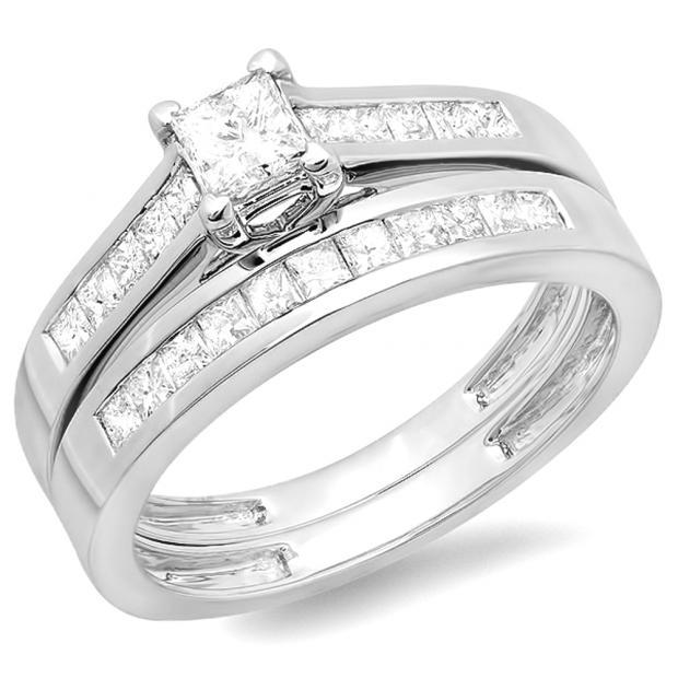1.00 Carat (ctw) 14K White Gold Princess Diamond Ladies Bridal Engagement Ring Set Matching Band