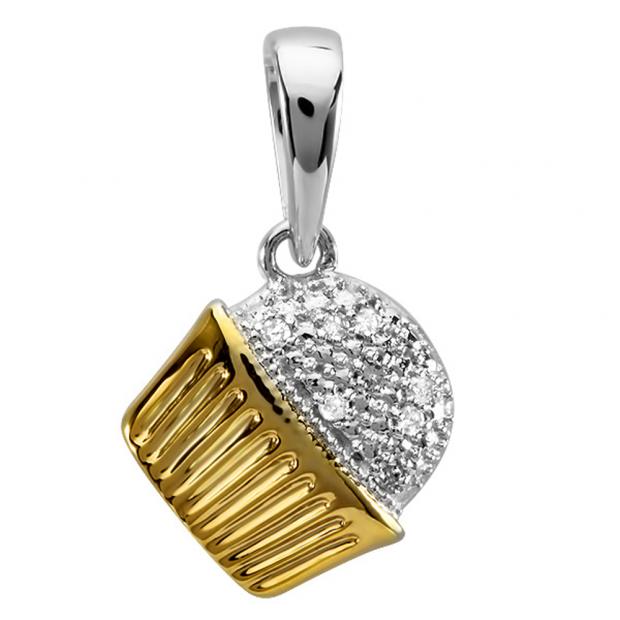 0.10 Carat (ctw) 10k Two Tone Gold Round Diamond Ladies Cupcake Pendant 1/10 CT
