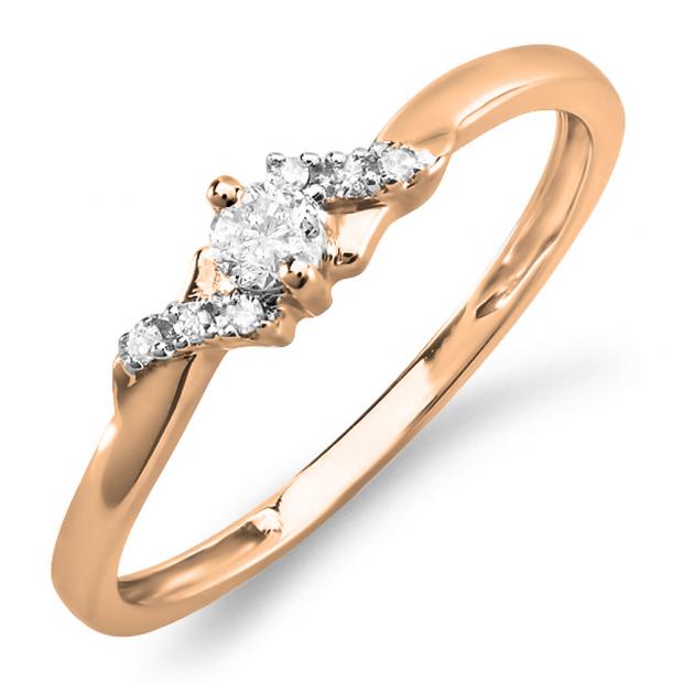 0.18 Carat (ctw) 10k Rose Gold Round Diamond Ladies Bridal Promise Engagement Ring
