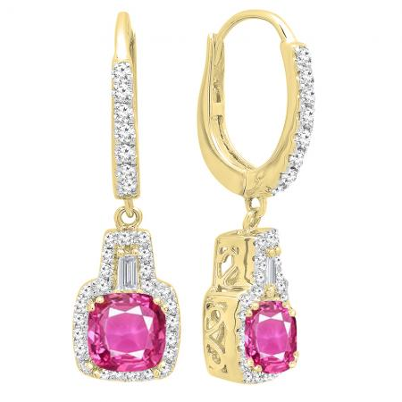 6d3e4a601b1c 18K Yellow Gold 5 MM Each Cushion Cut Created Pink Sapphire   Tapered    Round Diamond Drop Earrings