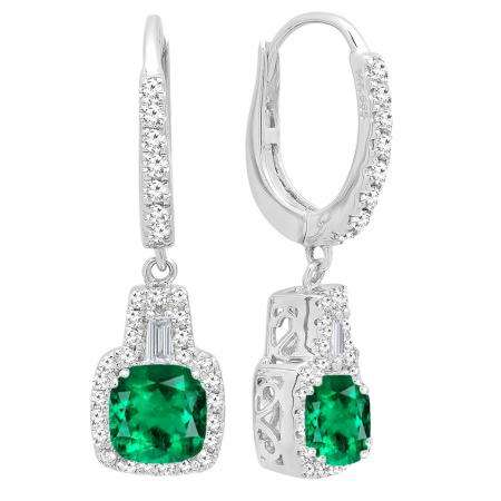 18k White Gold 5 Mm Each Cushion Cut Created Emerald And Tapered Round Diamond Drop Earrings Dazzling Rock