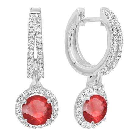 fda67974a 10K White Gold 5.5 MM Each Round Lab Created Ruby & White Diamond Ladies  Dangling Earrings